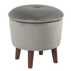 Gray Velvet Tufted Round Ottoman