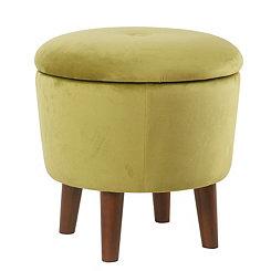 Green Velvet Tufted Round Ottoman