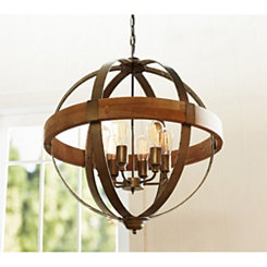 Rustic 6-Light Orb Pendant Chandelier