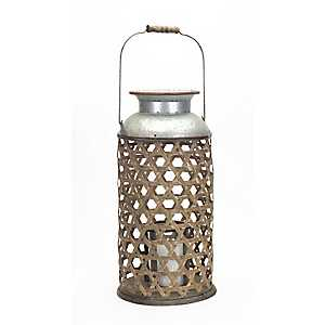 Wicker Candle Holder with Galvanized Metal Top
