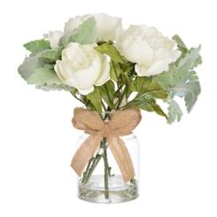 White Dusty Miller Peony Arrangement in Glass Vase