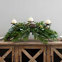 Winter Greenery Candle Centerpiece
