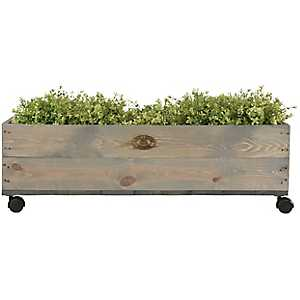 Wooden Planter on Wheels
