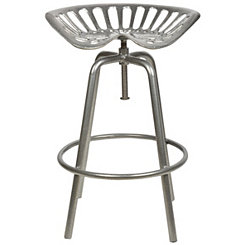 Silver Tractor Seat Stool