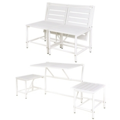 White Convertible Outdoor Table Bench