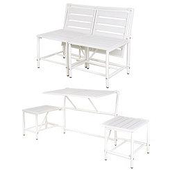 White Convertible Outdoor Table Bench