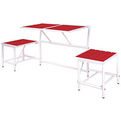 Red and White Convertible Outdoor Table Bench
