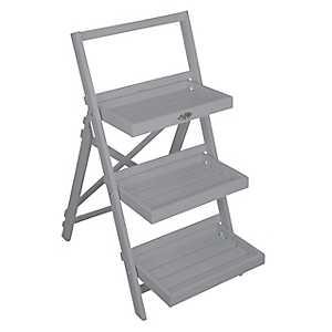 Gray Ladder Plant Stand Shelf