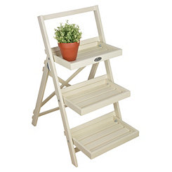 Ivory Ladder Plant Stand Shelf