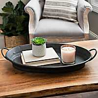 Black Antiqued Tin Oval Tray