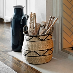 Natural Seagrass Basket with Black Lines
