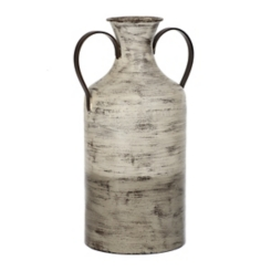 Gray and White Two-Toned Metal Vase
