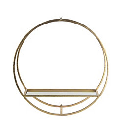 Gold Round Metal Wall Shelf