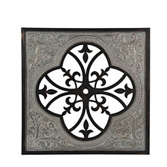 Quatrefoil Cut Out Wood and Metal Wall Plaque