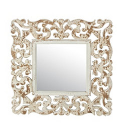 Mandy Vintage Carved Wood Wall Mirror