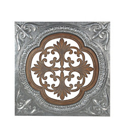 Square Brown Pierced Wood and Metal Wall Plaque