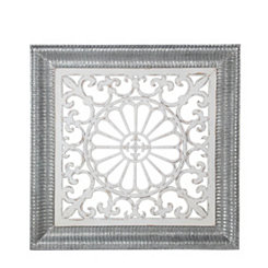 Square White Pierced Wood and Metal Wall Plaque