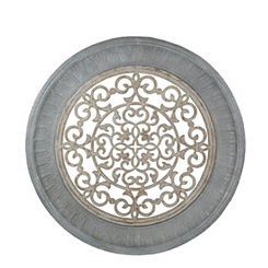 Round Pierced Wood and Metal Wall Plaque