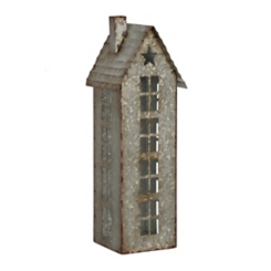 Galvanized House Pillar Candle Holder, 15 in.