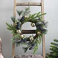 Blueberry and Gold Bell Christmas Wreath