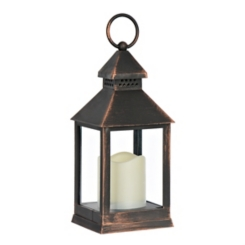 Bronze Lantern with LED Candle