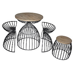 Logan 4-pc. Wood and Metal Dining Accent Table Set