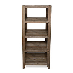 Slatted Wood 4-Tier Rustic Shelf