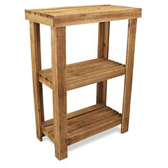 Slatted Wood 2-Tier Accent Table