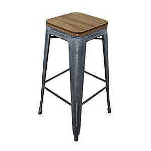 Wood Top with Metal Base Barstool