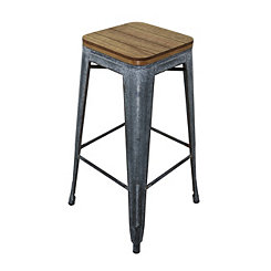 Wood Top with Metal Base Barstool
