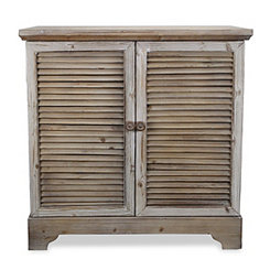 Two-Door Shutter Style Wood Cabinet