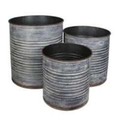 Ribbed Galvanized Round Metal Tins, Set of 3