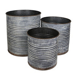Ribbed Galvanized Round Metal Tins, Set of 3