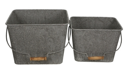 Gray Washed Metal Buckets, Set of 2