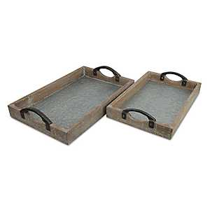 Light Wood and Metal Trays, Set of 2