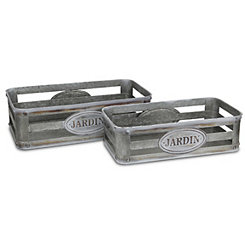 Metal Jardin Trays, Set of 2