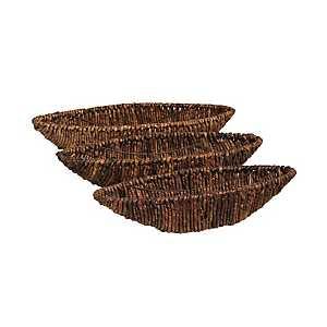Dark Seagrass Woven Bowls, Set of 3