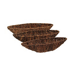 Dark Seagrass Woven Bowls, Set of 3