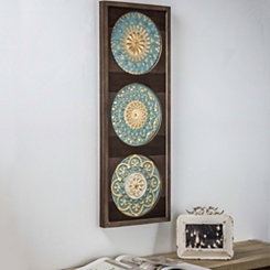 Aqua Metal Medallion on Wood Framed Wall Plaque