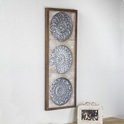 Gray Metal Medallion on Wood Framed Wall Plaque