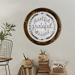 Thankful Grateful Blessed on Rustic Wood Plaque