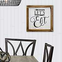Lets Eat Rustic Whitewashed Wood Wall Plaque