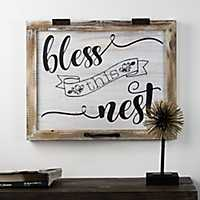Bless this Nest Rustic Whitewashed Wood Plaque