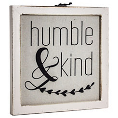 Humble and Kind Rustic Framed Wood Wall Plaque