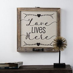 Love Lives Here Rustic Wood Framed Wall Plaque