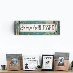 Simply Blessed Rustic Wood Framed Wall Plaque