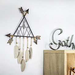 Metal Arrows Tee Pee Dream Catcher with Feathers
