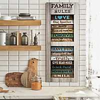 Family Rules Shutter Wood Wall Plaque
