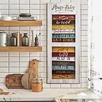 House Rules Shutter Wood Wall Plaque