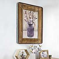 Cotton Vase Wood and Galvanized Framed Art Print